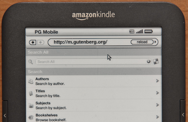 Kindle-Browser und Project Gutenberg